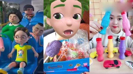 小可爱吃播:彩色牛奶瓶棒棒糖,看着超过瘾,是我向往的生活