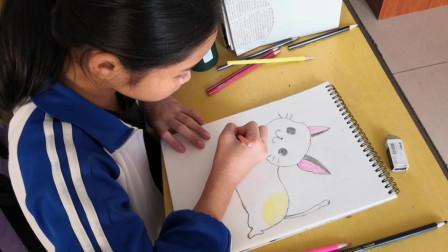 儋州市第二中学初一(3)班美术学习剪影之三