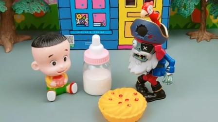 僵尸抢走了大头的奶粉,因为他听说很好喝