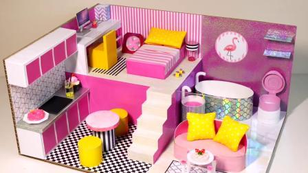 DIY手工制作:用小纸板拼装浴室,厨房,卧室和客厅