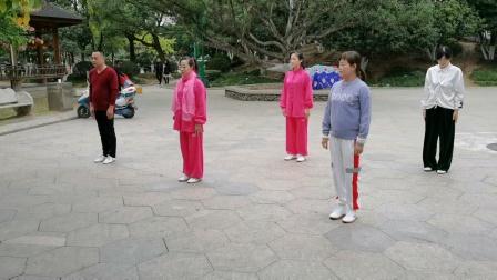 方爱琴,杨介锦,杨小凤,汤金叶,林子于2020年11月29日在意新时代俱乐部晨练练场示范(观音拳l)。