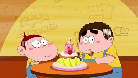 只要去拍摄广告,就能吃到免费蛋糕,胖仔和阿U听了老开心了