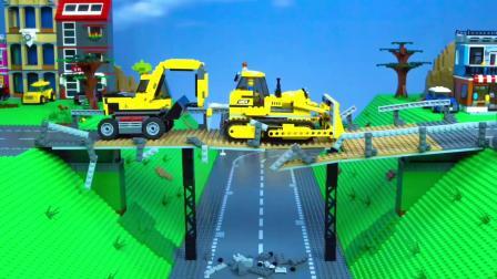 乐高城市挖掘机,有消防车,垃圾车儿童玩具