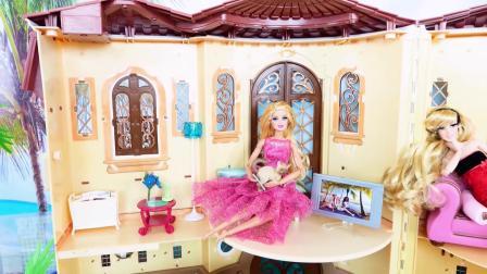 芭比娃娃的豪华玩具屋,还可以邀请闺蜜们办私人舞会!