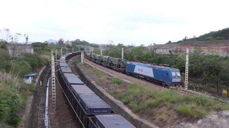 HXD1C0593牵引91615次列车会集装箱货列