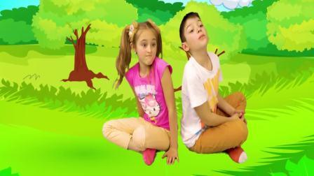 美国时尚儿童,小萝莉和哥哥野外旅游,真开心