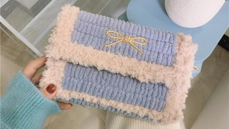希妈手作 第302集 冰条线网格绒绒线包送女友闺蜜孕期新手编织教程
