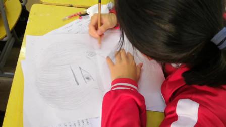 儋州市第二中学初一(4)班美术课学习剪影