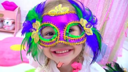 美国时尚儿童,小公戴上了可爱的面具,真好玩
