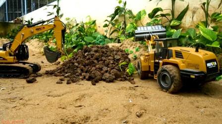 挖掘机要去工作突破重重阻碍 汽车玩具