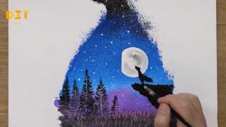 手工绘画教程,月光帆船画的绘制方法!