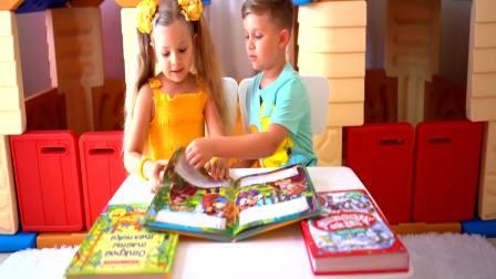 国外萌宝时尚:小女孩和小正太一起看书,非常开心
