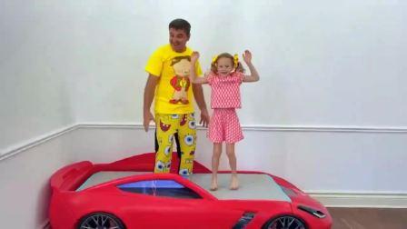 儿童亲子互动,斯泰西,给她爸爸做了一个新的房间