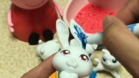 有趣益智宝宝早教:小白兔变成了彩色兔,多漂亮