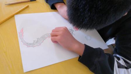 儋州市第二中学初一(1)班美术课学习剪影