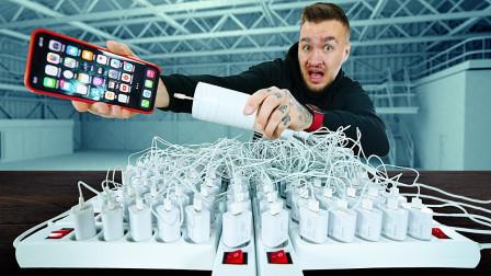 iPhone充电时,用100根线同时充,结果你猜会怎样?