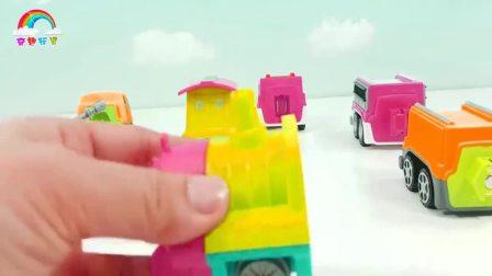 打开蜡笔认识车玩玩具学习颜色和英语