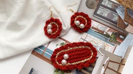 编织复古红色耳环教程