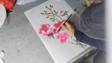 画一幅简单的牡丹花