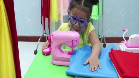 美国时尚儿童,萌宝用缝纫机制作一份,真好玩呀