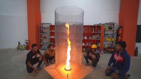 家中自制火焰龙卷风,新奇趣味实验!