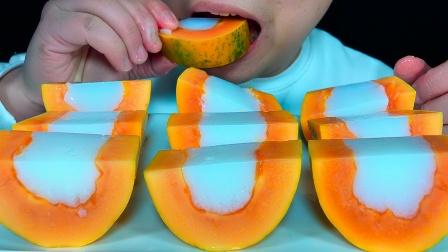 吃木瓜牛奶果冻,听不一样的咀嚼音!