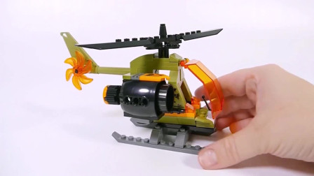 积木拼装警车和直升机