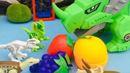 大恐龙带着小恐龙到果园找水果吃