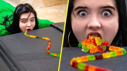 外国美女挑战:跑步机上吃软糖,这是什么操作?