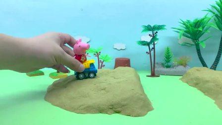 亲子早教宝宝玩具,乔治用小铲车帮助公牛先生修桥