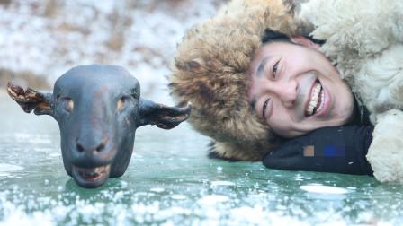 冰天雪地长白山,大雪地吃炭火羊头,寒夜烈酒无肉不欢,舌尖盛宴