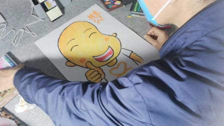 画一个可爱卡通小男孩