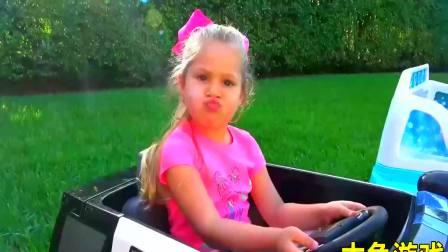 儿童亲子互动,小萝莉洗车赚钱买新玩具车!快来看看吧