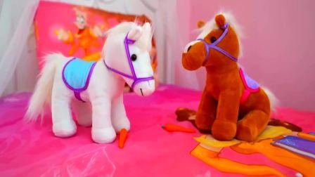 儿童亲子互动,小萝莉的小马吃了巧克力豆突然长大啦!快来看看吧