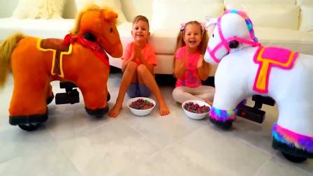儿童亲子互动,小萝莉的小马吃了巧克力豆突然长大啦!真有趣啊