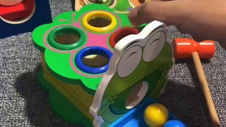 敲敲打打,锻炼宝宝手眼协调能力,认知颜色#视频同款玩具在主页资料的优酷小店里面有