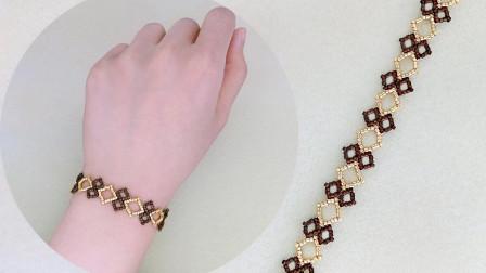 摩登蕾丝元素串珠手链、手工制作串珠手链、串珠饰品教程