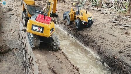 遥控工程车,三辆工程车挖掘机装载车自行车位卡车铺路修水渠