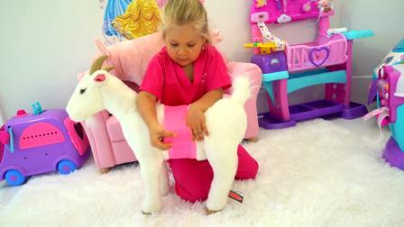 美国时尚儿童,小姐姐给动物狗狗看病,真可爱