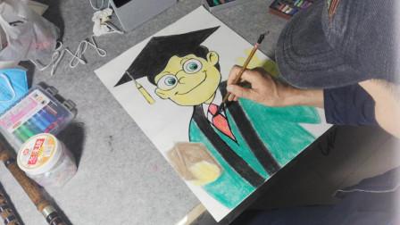 画一个卡通博士