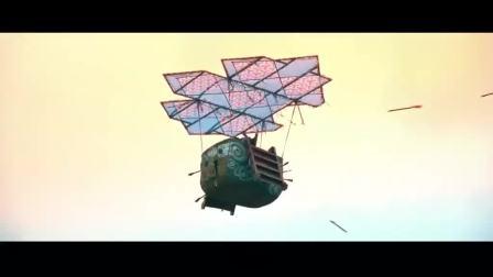 古天乐在皇宫内打空战,一顿火炮打飞4个飞行器,自己也坠机了