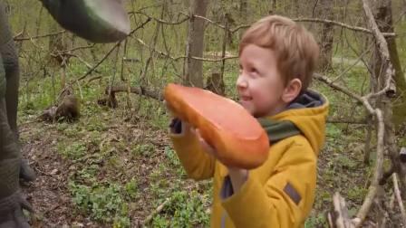 国外少儿时尚:小男孩玩恐龙蛋玩具,真讨人喜欢