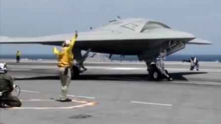 实拍美军X47B无人机在航母上弹射起飞!