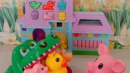 亲子幼教宝宝:大鳄鱼嘴巴里面有好多小动物