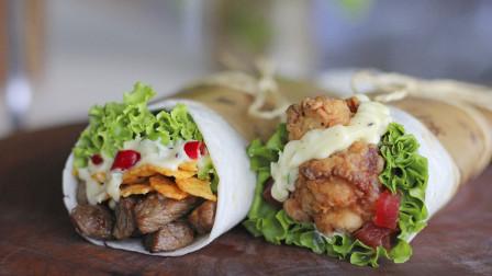 自制超好吃的K记墨西哥鸡肉卷饼和川香嫩牛卷肉卷,吃了就忘不掉
