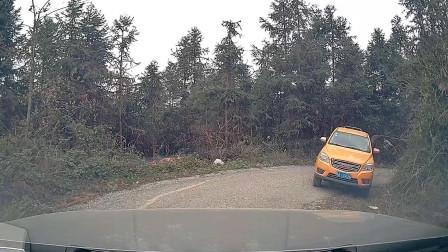 湖南山上窄路开车,陡坡转弯遇到皮卡车,这会车尴尬了