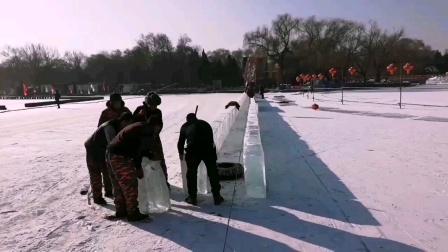 沈阳北陵公园冰滑梯施工中
