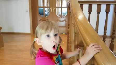 美国时尚儿童,小女孩在玩魔法棒,开心极了