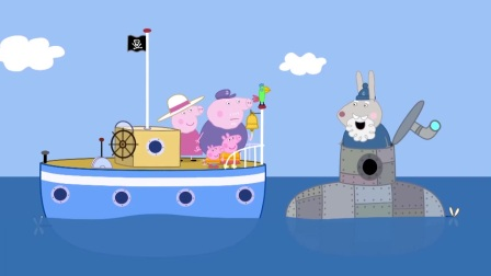 小猪佩奇:猪爷爷开船出去玩,遇到救人的狗爷爷,城里发水啦