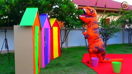 儿童亲子互动,孩子们在玩花园里玩,太好玩了